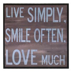 Live Simply Wall Art.
