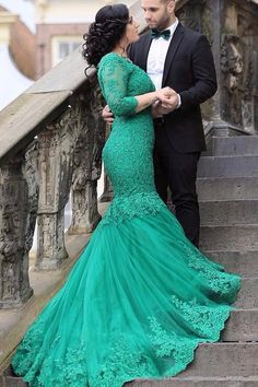 Mermaid Long Sleeves V-neck Appliques Beading Lace-up Green Prom Dress,MB 390