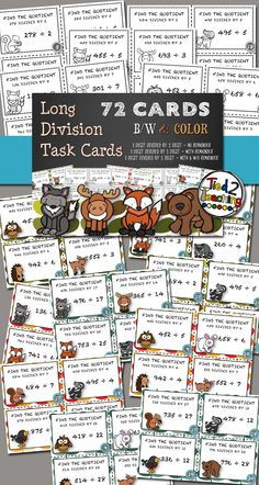 Long Division Task Cards comes with 72 different cards each with a different long division problem. The cards are organized into 3 sets of 24 cards.  Set 1 (24 cards) - This set has 3 digit divided by 1 digit problems with no remainder.  Set 2 (24 cards) - This set has 3 digit divided by 1 digit problems WITH remainders.  Set 3 (24 cards) - This set has 3 digit divided by 2 digit problems with and without remainders. Teacher Resources, Teacher Pay Teachers, Teaching Division, Spiral Math, Remainders, Long Division, Close Reading, Test Prep, Task Cards