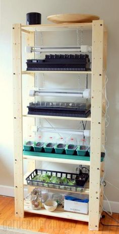 Seed starting shelf wih grow lights.  Good set of articles on pros and cons of a lot of stuff concerning seed starting.