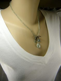 Moss Aquamarine Love Story III Necklace by affinitygirl on Etsy, $138.00
