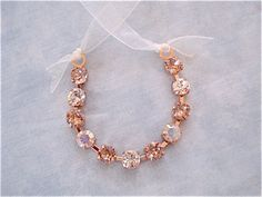 Rose Gold Blush Crystal Flower Girl Bracelet - product images  of