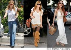 """""""Boho  From what we can remember, The Olsen twins started the Bohemian Chic trend. The free-spirited, Hippie inspired style includes its well-known staples: large sunglasses, flowing skirts, boots and loose jumpers. They embarked on the trend in the early 2000s, and it has stayed strong throughout the decade."""""""