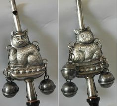 Victorian Baby Rattle with Whistle Unsigned Antique Sterling Silver Kitty