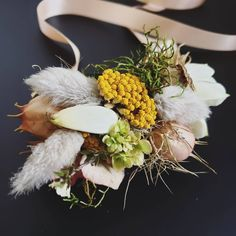 DRIED AND FRESH WRIST COURSAGE F l o r a l S t y l i s t  (@pebbleanddot) All the little bits ♡ Wedding Flowers, Wreaths, Fresh, Table Decorations, Home Decor, Decoration Home, Door Wreaths, Room Decor, Deco Mesh Wreaths