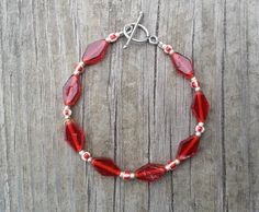 Red Pressed Glass Diamonds and Seed Bead by SillygirlblueJewelry, $22.99