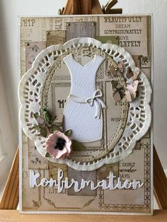Konfirmationskort, har brugt Kaisercraft Mademoiselle, by Lene die Mix Style, Card Designs, Fathers Day, Cardmaking, New Baby Products, Birthday Cards, Diy And Crafts, Christmas Cards, Birthdays