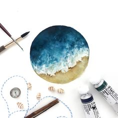 (@rosies.sketchbook) In the mood to paint more ocean scenes.  #watercolor #watercolour #painting #sketch #art #artist #artwork #draw #drawing #doodle #watercolorist #illustration #illustrate