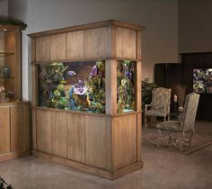 Ordinary Brown Wood Aquariums Dividing Living Room
