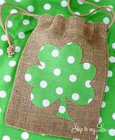 How to make a shamrock draw string bag for St. Patrick's Day