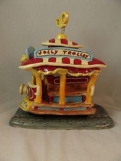 "Disney Toontown Jolly Trolley Clayworks 8"" Pottery Figurine Tea Light Disneyland #Clayworks"