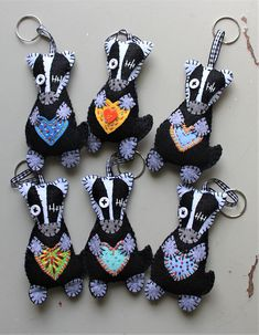 Keychain - key ring - Badger - wild animal - black - grey - gift idea - felt key chain - heart - party favors - Patchyz by Kathleen Flask
