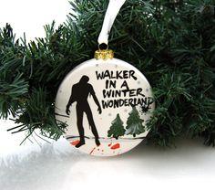 The Walking Dead Christmas ornament, walker in a winter wonderland, funny gift under 15, Zombie lover geekery fan by LennyMud on Etsy