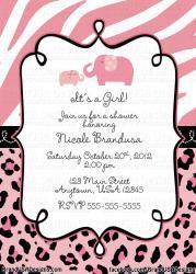 Pink Safari Custom Baby Shower Invitation