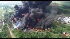Drone footage of a massive fire