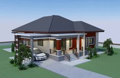This house concept is simple in design yet the touch of elegance is stil l in it. With 3 bedrooms, this house is 143 square meters total floor area. The minimum lot requirement is meters by 20 … Beautiful House Plans, Simple House Plans, My House Plans, Bedroom House Plans, Modern House Plans, Modern Bungalow House Design, Modern Small House Design, Simple House Design, Design Of House