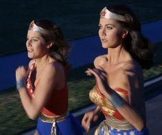 "Debra Winger as Wonder Girl and Lynda Carter as Wonder Woman in an episode of the TV series ""Wonder Woman"""