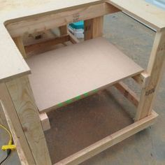 Woodworking Bench saw. Once it is done, you can install your table saw to the box. Your table saw now has a home! Table Saw Workbench, Building A Workbench, Workbench Plans, Woodworking Workbench, Garage Workbench, Rolling Workbench, Woodworking Workshop, Workbench Designs, Build A Dog House