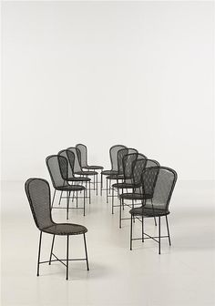 Mathieu Matégot; Enameled Metal 'Palm Beach' Side Chairs, 1950s.