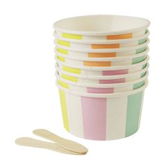 Set Of Ice Cream / Sweet Cups With Wooden Spoons