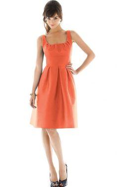 Sleeveless Zipper Scoop Knee-length Satin Formal Dresses b140431