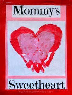 Mommy's Sweetheart Handprint Craft - Fun Handprint Art