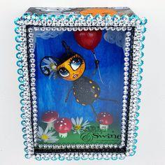 """Bumble"" Bee Doll LowBrow Art Sculpture in Framed Box Sculpture Art, Sculptures, Floating Balloons, Little Doodles, Lowbrow Art, Toad, Jewelry Art, Daisy, Bee"