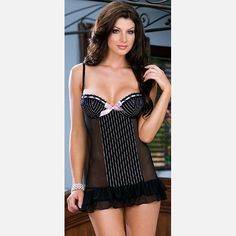 From the Dreamgirl main collection.  This babydoll is lightly padded and underwired.  Its design is pinstripe at the centre front, with black mesh either side of the garment.  It has pink lace up at the rear and standard adjustable straps on the bra strap