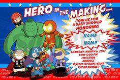 Avengers Baby Shower Invitation by Built4Kids on Etsy, $12.00