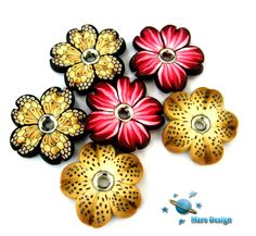 Flower beads -made with petal canes | by Marcia - Mars design