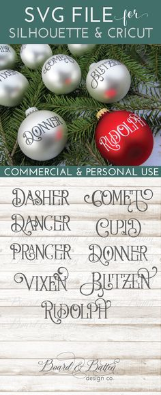 Who doesn't need a set of reindeer name SVG files? Grab this set today of cute, vintage style reindeer names. This set is perfect for using your Cricut or Silhouette to make matching ornaments, window clings. and other fun festive decor.