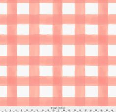1 Yard Or Fat Quarter Of Watercolor Buffalo Check Peach By Designer Willowlanetextiles Printed On Organic Cotton Knit Linen Canvas