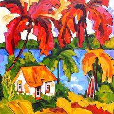 Marie Claude Boucher ~ Pleasure And Sun Watercolor Ideas, Watercolor Bird, Watercolor Paintings, Caribbean Art, Hawaiian Art, South African Artists, Tropical Art, House Art, Hawaiian Islands