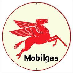 Mobilgas Pegasus Sign, Vintage Style Aluminum Metal Sign, 2 Sizes Available, USA Made Vintage Style Retro Garage Art by HomeDecorGarageArt on Etsy 1950s Advertising, Vintage Advertisements, Garage Signs, Garage Art, Style Retro, Vintage Style, Old Gas Stations, Cool Vans, Vintage Metal Signs