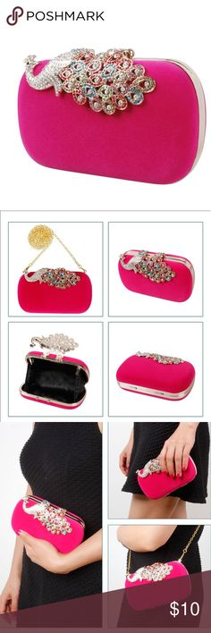 Hot Pink Velvet Clutch Velvet Material with Gold Details. Comes with chain strap. NWT and dust bag. Size: 16CM X10CM X5CM Bags Clutches & Wristlets