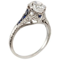 1.57 Carat F color VS2 (GIA certified) Cushion Cut Diamond Sapphire Platinum Engagement Ring circa 1920
