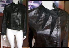 vintage 1970s Berman's Women's Black Leather Jacket Suede Insets Biker Cafe Racer Motorcycle Jacket by WestCoastVintageRSL, $92.00