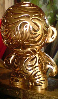 swirly golden kidrobot munny custom make your own--customizable kidrobot munny toys available at www.lazydazeco.com!