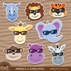 Animal Sticker Clip Art / ZOO ANIMALS with Sunglasses Clipart