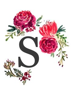 Floral Monogram Watercolor Letter S by SaraLoone Monogram Wallpaper, Alphabet Wallpaper, Watercolor Lettering, Floral Watercolor, S Alphabet, Galaxy Wallpaper, Monogram Letters, Initials, Stickers