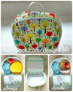 Lancheira com forro de plástico  .  Lancheira térmica .  Lancheira infantil . Lancheira criança #designKeR facebook.com/designKeR