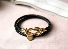 Dream Weaver Double Leather Bracelet - Black Bow Bracelet, Bracelets, Leather, Black, Jewelry, Jewlery, Black People, Jewerly, Schmuck