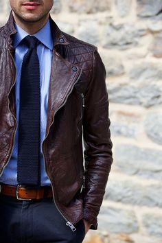 Leather jacket and knit tie http://hespokestyle.com/knit-tie-edgy-business/