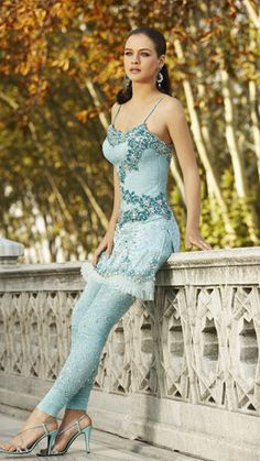 .The pretty in soft blue dress - enjoy a Casual day out - sexy woman in custome sari - #thejewelryhut