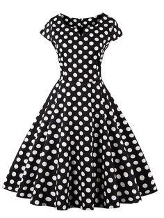 vintage style retro classic black and white polka dot dress Look Fashion, Retro Fashion, Vintage Fashion, Fashion Site, Fashion Online, Cheap Fashion, Men Fashion, Vintage Style Dresses, Vintage Outfits