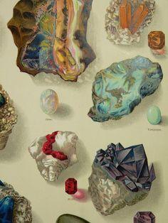 Precious Stones Gems Antique 1904 Color par OldMapsandPrints