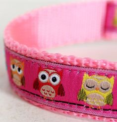 Pink Colorful Owls Dog Collar / Pet Accessories / girl dog collar / woodland dog collar on Etsy, $17.50