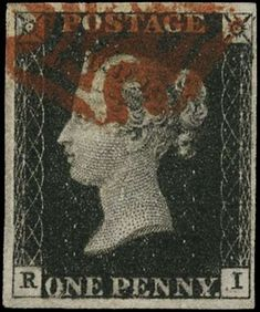 £1,250 Great Britain 1840 1d black, Plate 10, SG2.  A very fine used example with four good to large margins lettered RI, cancelled by a crisp red Maltese Cross, showing re-entry and long-tailed R.  An attractive example of this rare printing plate variety of the world's first postage stamp. The penny black represents a real landmark in British and worldwide history.  The SG catalogue value is £1,500.  GB Specialised Catalogue Number: AS66e/h. Maltese Cross, Penny Black, Stamp Collecting, Great Britain, Postage Stamps, First World, Crisp, British, Printing