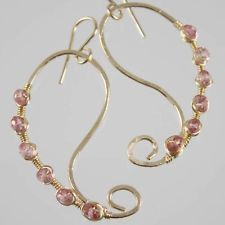 Pink Topaz Handmade Wire Wrapped Earrings Gemstone 14k Gold Filled Artisan