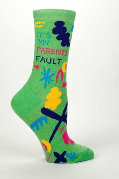 Is it your parents' fault that you are awesome, brilliant and beautiful. Probably. They maybe also taught you to love soft, supple and sassy socks, of the electric green variety. Hold them responsible for your good taste, go on. You got this. Women's shoe size 5-10. Parent's Fault Socks by Blue Q. Accessories - Socks Cape Cod, Massachusetts
